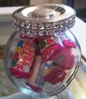 NEW DIAMANTE BLING TRANSPARANT GLASS WEDDING FAVOR JAR CANDY BUFFET STORAGE