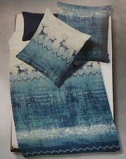 Fleuresse Feinbiber Flanell Winter Bettwäsche Renntiere blau 135x200 cm  2-tlg.
