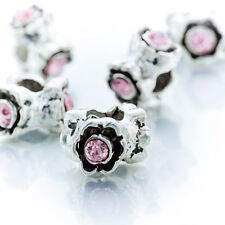 5Pcs Silver Crystal Pink Spacer Beads Lot Fit European Bracelet Jewelry Making