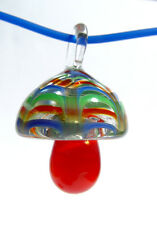 Lg Glass Mushroom pendant carnival design with necklace