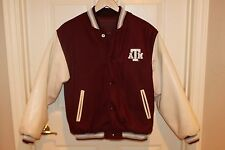 Womens TEXAS A&M Maroon Wool White Pleather Varsity Letterman Bomber Jacket M