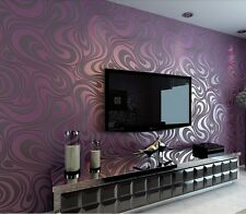 70cm Abstract Curve Modern Luxury 3D Flocking Striped Wallpaper Purple 5.88㎡