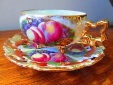 Royal Sealy China, Japan, Peaches & Grapes Tea Cup & Reticulated Saucer