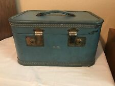 Blue Train Case Travel Trunk Suitcase Vintage Luggage 1950s Beauty Make Up Bag
