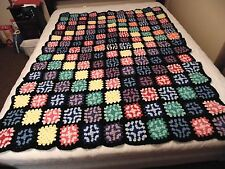 "LARGE HAND CROCHETED GRANNY SQUARE AFGHAN BEDSPREAD BLANKET THROW 53"" X 73"""