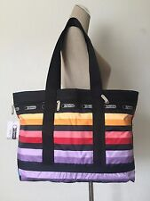 NWT LeSportsac Multi-color Wide Ruled Stripe Medium Travel Tote Bag 7005-D626