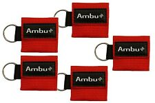 Ambu Res-Cue Key Mini CPR Mask Keychains, Red ( Pack Of 5 ) Set Of 27 Packs