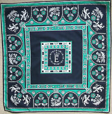 CORNELIA JAMES VINTAGE SQUARE SCARF 1970'S SILVER JUBILEE 1977 NAVY GREEN QUEEN