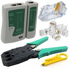 Cable Tester + Crimp Crimper+100 RJ45 CAT5 CAT5e Connector Plug Network Tool TOP