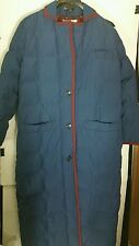 Vintage Billl Blass Down Coat 12 Large Jacket Quilted Long Blue Lined Parka USA