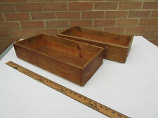 2 old vintage workshop factory long open wooden tool storage wooden box tray