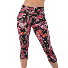 Yoga Capri Pant Leggings for Fitness Gym Wear Workout Clothes Running  SMALL-215