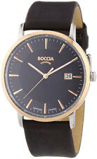 B3557-05 NEW Boccia Gents Titanium Leather Strap Watch