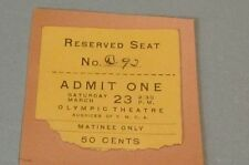1912 Olympic Theatre Norwich Connecticut Movie or Vaudeville Show Ticket 3/23
