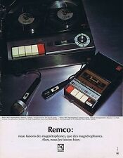 Publicité Advertising 016 1972 Remco magnétophones