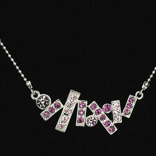 Art Pendant Necklace Front Chain Costume Jewelry Rhinestone Crystal Purple Party