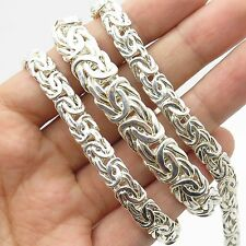 925 Sterling Silver Wide Thick Graduated Byzantine Chain Necklace 19""