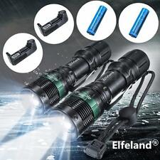 2Pcs Elfeland 6000LM LED 3 Mode Zoomable Flashlight Torch +18650 Battery+Charger