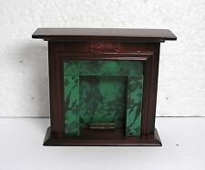 Dolls House  1:12  Furniture Mahogany and Green Marble Fire Place New