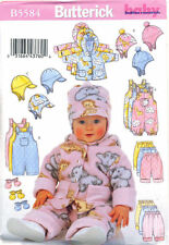 BUTTERICK SEWING PATTERN 5584 BABY SZ NB-M REVERSIBLE JACKET, PANTS OVERALLS HAT