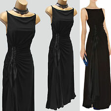 Karen Millen Black Jersey Drape Long Gown Maxi Party Wedding Cocktail Dress SZ 8