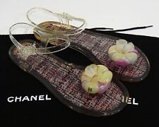 Chanel Camellia Jelly Flat Thong Sandals Size 38