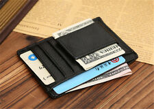 Black Men's Money Clip Magnet Slim Leather Wallet ID Credit Card Holders Purse A