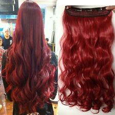 """US Stock Cosplay Long Real Curly dark red Clip In Hair Extensions Hairpiece 24"""""""