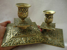 A GOOD PAIR OF TWO INDIAN ANTIQUE BRASS SQUARE SHAPE DWARF TABLE CANDLESTICKS