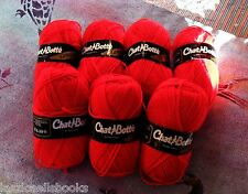 Chat Botte French YARN France One Skein Ball Campanule RED, 80% Acrylic 20% Wool