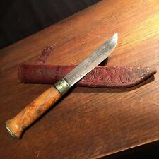 Vintage Knife J. Marttini Finland Engraved Caribou Hunting Sheath PRIORITY MAIL