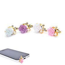 2PCS 3.5mm Rose Crystal Anti Dust Cap Earphone Jack Plug Stopper For Cell Phone