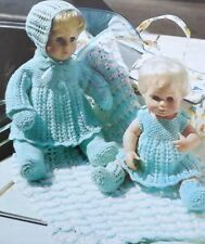 "Baby Dolls Knitting Pattern Bonnet Coat Dress Mittens Shawl 12""/16""  CP 9102"