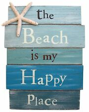 Beach House Welcome Board Sign The Beach Is My Happy Place Wall Decor Ornament