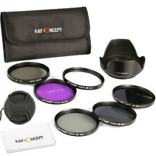 K&F Concept 77MM Filter Kit UV CPL FLD ND2 4 8 + Lens Hood Cap for Canon Nikon