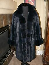 Gorgeous Navy Sheared Fur Mink? & Chinchilla Rex Fur Reversable Coat Jacket