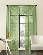 """Sheer Voile 2-Piece Sage Green Curtain Panel Solid Window Treatment 84"""" Long"""