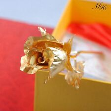 24K Gold Dipped 8'' Rose DecorationFoil Rose Anniversary Trim (Free Gift Box)