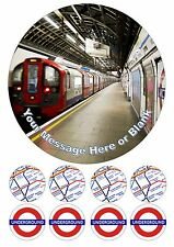 "London Underground Personalised Iced Cake Topper 7.5"" + 8 Cupcake Fairy Tops"