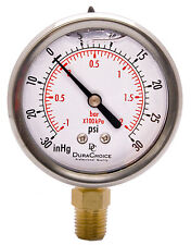 "2-1/2"" Oil Filled Vacuum Pressure Gauge - SS/Br 1/4"" NPT Lower Mount -30HG/30PSI"