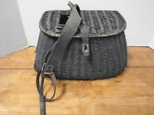 Vintage  Creel Fishing Leather Wicker Basket  Strap  Trout Black