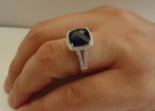 925 STERLING SILVER RING W/ 6 CT LAB DIAMOND&TANZANITE /SIZE 5 TO 9 AVAILABLE