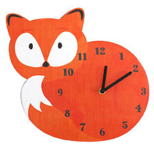 Kids Woodland Animal Fox Printed Wall Clock- Orange