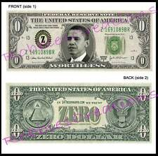 12 LOT-U.S. PAPER MONEY ZERO Obama-Dollar Bill FUNNY Play Bookmark Novelty FUN