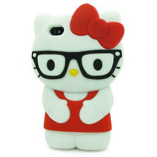 "iPHONE 5 5S 5C ""HELLO KITTY GLASSES CASE"" 3D Character Soft Cover RED"