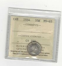 **1954** ICCS Graded Canadian,  10  Cent, **MS-65**