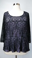 PRETTY LANE BRYANT PLUS SZ BLACK LAVENDER 3/4 SLEEVE LACE LINED PEPLUM TOP 18/20