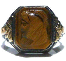 ANTIQUE OLD ART NOUVEAU DECO STERLING SILVER 10K GOLD TIGERS EYE CAMEO MENS RING