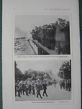 1915 WWI WW1 PRINT ~ CITIZENS OF WARSAW WATCHING GERMAN TROOPS MARCH WARSAW