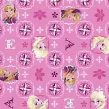 Fat Quarter FQ Disney Frozen Pink Glitter Elsa Anna 100% Cotton Quilting Fabric